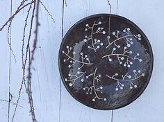 Keramická misa v škandinávskom štýle, čierna s vetvičkami