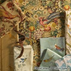 Birds of a Feather Fabric Collection. Image: Calico Corners. #fabric #aviary.....oh my my.....the colors....me