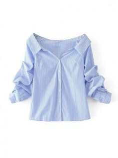 Blue Stripe Pointed Collar V Front Puff Sleeve Shirt Top