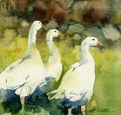KO.46 three geese giclee print from original watercolour 30x29cm