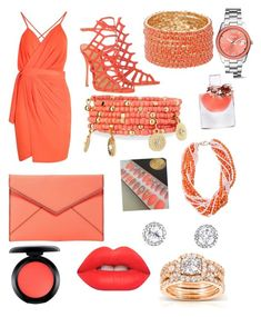 """""""Peach"""" by crystal27713 ❤ liked on Polyvore featuring Boohoo, Schutz, Rebecca Minkoff, Emily & Ashley, FOSSIL, Kobelli, MAC Cosmetics, Lime Crime and Lancôme"""