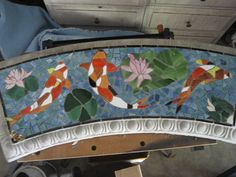 Mosaic Bench, Koi and Lily pads--Reserved for Trean via Etsy