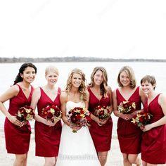 Discount Burgundy Satin Short/Mini Pleats V-neck Bridesmaid Dress…