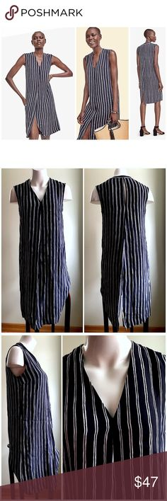 "Ann Taylor V Neck Sleeveless Striped Dress Ann Taylor Navy White V Neck Sleeveless Straight Striped Dress Tunic Size Small   Brand: Ann Taylor Size: Small Condition: pre-loved Material: 100% rayon; lining is polyester  	•	elongating stripes 	•	360-degree pleats 	•	summer-ready silhoutte 	•	v-neck 	•	sleeveless 	•	lined 	•	front & back center pleat 	•	back slit 	•	original retail $149   Measurements laying down: Chest: 18"" Center length (shoulder to hem): 39""  Product ID 12-550-0218 Ann…"