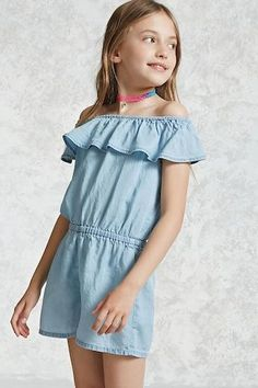 Forever 21 Girls - A chambray romper featuring an elasticized off-the-shoulder neckline, a flounce layer creating the short sleeves, and an elasticized waist.