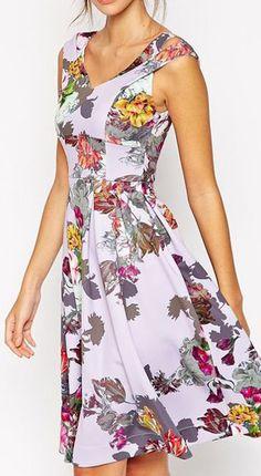 ASOS Lilac Floral Split Strap Debutante Dress