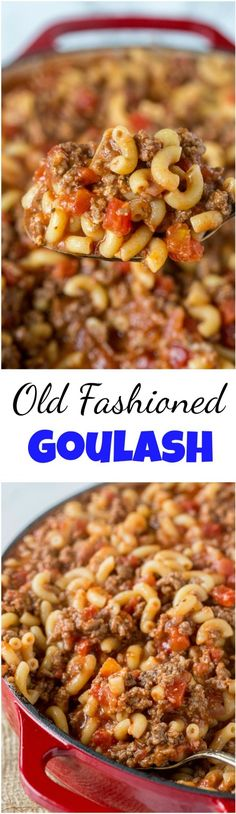 Old Fashioned Goulash - The same American goulash recipe that you grew up with. Old Fashioned Goulash - The same American goulash recipe that you grew up with. A hearty recipe that the entire family can enjoy any night of the week. Beef Dishes, Pasta Dishes, Food Dishes, Main Dishes, Meat Recipes, Cooking Recipes, Recipies, Cooking Tips, Easy Goulash Recipes