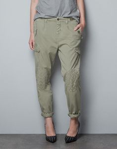 Want!!  TOP STITCHED BAGGY CARGO PANTS - Trousers - TRF - ZARA