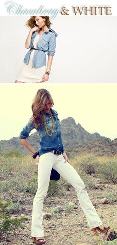 A few ways to wear a chambray shirt