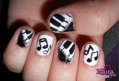 Piano & Music Nails  View tutorial here http://www.youtube.com/watch?v=42dP4kA9poo&feature=channel_video_title