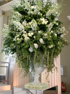 wedding church flowers in urns - Yahoo Image Search Results Tall Flower Arrangements, Altar Flowers, Church Flowers, Floral Centerpieces, Wedding Reception Flowers, Bridal Flowers, Wedding Church, White Flowers, Beautiful Flowers