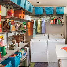Designate Spaces - 10 Ways to Organize the Laundry Room - Southern Living