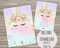 65 Ideas birthday card printable free unicorn for 2019 Unicorn Birthday Invitations, Unicorn Birthday Parties, Birthday Party Themes, Birthday Cards, 3rd Birthday, Birthday Ideas, Printable Invitations, Party Invitations, Pink Flamingo Party