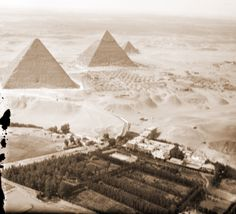 Ariel view of Mena House hotel at the shadow of the Pyramids, circa 1930's www.menahousehotel.com