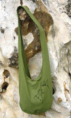 My Neighbor Totoro Hip/ Shoulder/ Sling Bag cotton Thai Cotton 1 green