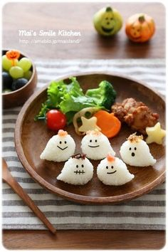 Cute Halloween Ghost Rice Balls (Onigiri)