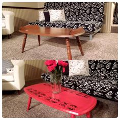 Before and after of my $10 thrifted coffee table. I chose a red color and stencil a simple decor. The vase and flowers are also thrifted. Cheap DIY=FTW!