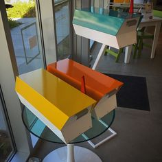 2 new ModBoxes arrived today at Just Modern!! Yellow and Orange! #modbox #palmsprings