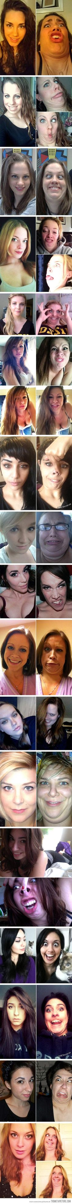 "Pretty girls making ugly faces. Cox I think we can ""out face"" these girls lol Funny Love, The Funny, Funny Pics, Funny Stuff, Laughing Face, Funny Pictures Can't Stop Laughing, Memes Funny Faces, Funny Quotes, Funny Humor"