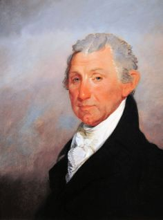 James Monroe by Gilbert Stuart. Note the brilliant blue eyes. But in other portraits his eyes appear to be brown or green or gray. Hmmm.