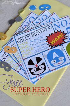 free printable super hero invitations - plus a whole super hero party printable pack