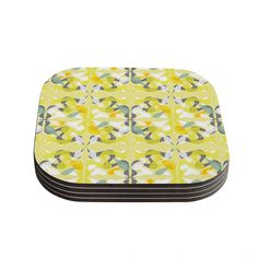 Kess InHouse Miranda Mol 'Spring Flourish' Coasters (Set of 4) (Spring Flourish), Green (Wood)