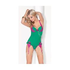Green teddy lingerie with fushia sheer lace straps extending to breast cups, ribbons accents, and stocking suspenders#sexy #lingerie