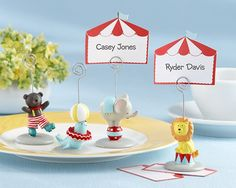 A baby shower can certainly be a bit of a circus, and we have just the favor to make yours unforgettable. Our Big Top Circus Animal Place Card or Photo Holder favors are certain to be an endearing complement. Diy Wedding Supplies, Wedding Supplies Wholesale, Diy Party Supplies, Wedding Favors, Wedding Invitation, Invitations, Carnival Themes, Circus Theme, Circus Party