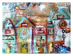 Print mixed media, house prints, colorful, whimsical, bold colors. $12.00, via Etsy.