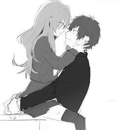 Image via We Heart It #anime #blackandwhite #couple #cute