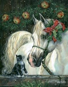 Vintage Christmas with white horse and a kitty. Christmas Horses, Cowboy Christmas, Noel Christmas, Christmas Animals, Vintage Christmas Cards, Christmas Cats, Winter Christmas, Christmas Garden, Vintage Cards