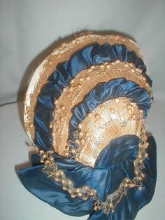Antique 1860 Hat/Bonnet Straw & Navy Blue Satin Vintage Original
