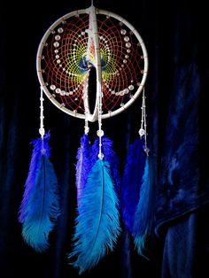 Hippie dreamcatcher, Large double dream catcher, Rainbow mobile, Colorful boho decor, Free spirit, Hippie style, Creative bohemian bedroom