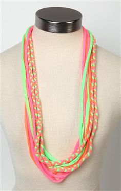 Deb Shops multicolor #neon layered #scarf with braids $9.99