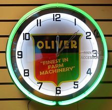 """18"""" OLIVER Farm Machinery Sign Double Neon Clock Tractor Neon Clock, The Great Outdoors, Tractors, Neon Signs, Clocks, Decorations, Crafty, Yellow, Green"""