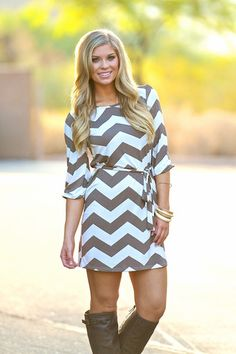 From Work To Play Dress - Chevron Mocha | Closet Candy Boutique