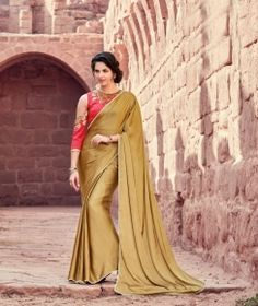 3b3efcbae305c Alluring Beige Satin Silk Plain Satin Silk Saree and Embroidered Blouse  Saree SS