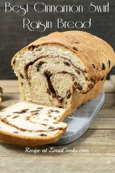 Homemade Cinnamon Swirl Raisin Bread is full of plump raisins and spiced with sweet sugar and cinnamon. It's perfect as toast slathered with butter. This recipe makes one loaf and can be frozen. Cinnamon Recipes, Quick Bread Recipes, Donut Recipes, Real Food Recipes, Baking Recipes, Raisin Recipes, Jewish Recipes, Healthy Recipes, Cinnamon Raisin Bread
