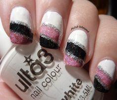Girly mani--white, pink, black and silver stripes. #polishinfatuated