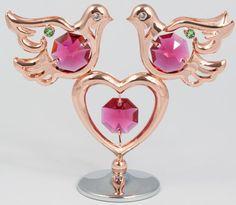 2 Tauben mit Herz rosegoldfarben Hochzeitsgeschenk MADE WITH SWAROVSKI ELEMENTS - premium-kristall