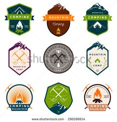 Set of vector logos and badges camping, hiking and outdoor activities. Collection of vintage emblems and symbols of woods camp, travel and mountain camping - stock vector