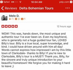 Chilly Billy Howell has given many Delta Bohemian Tours. Read what some of his day trippers have to say about his tour in their reviews. Mississippi Delta, He Day, Tour Guide, Bohemian, Tours, Sayings, Reading, Lyrics, Reading Books