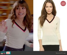 Rachel's white v-neck sweater with neon pink trim on Glee.  Outfit Details: http://wornontv.net/45930/ #Glee