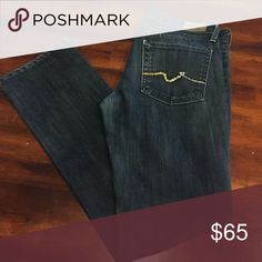 7 for all Mankind. Nice dark Jean with rhinestoned back pockets. 30in Inseam 7 for all Mankind Jeans Straight Leg