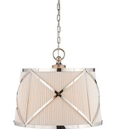 Visual Comfort E.F. Chapman Grosvenor 3 Light Hanging Shade in Polished Nickel CHC1483PN-L #lighting