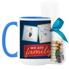 We Are Family Mug, Light Blue, with Ghirardelli Assorted Squares, 15 oz, Blue