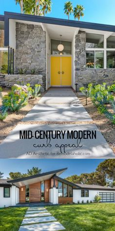 17 Captivating Mid Century Modern Entrance Designs That Simply Invite You Inside - Midcentury Modern Exterior Décoration Mid Century, Mid Century Decor, Mid Century House, Mid Century Ranch, Mid Century Furniture, Flat Roof House Designs, Modern House Design, Contemporary Design, Modern Entrance