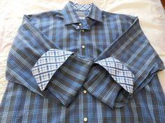 Thomas Dean Dress Shirt XL TG Blue Plaid Flip Cuffs Cotton #ThomasDean