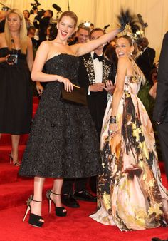 The Best Celebrity-Buddy Pics From the Met Gala: Jennifer Lawrence pets SJP's Mohawk. And makes a face that wins the punkiest punk thing of the night.