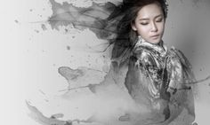 Girl asian asian girl wallpaper pinterest asian hd asian girl with ink watercolor cosplay style in gray wallpaper hd wallpaper high resolution wallpaper voltagebd Images